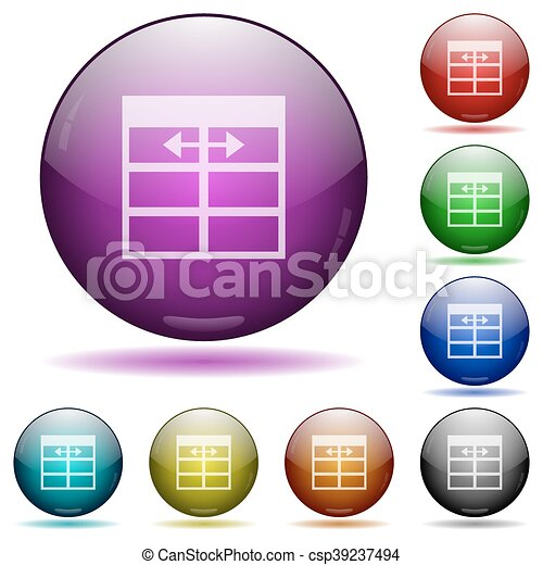 Spreadsheet adjust table column width glass sphere buttons - csp39237494  sc 1 st  Can Stock Photo & Set of color spreadsheet adjust table column width glass... eps ...