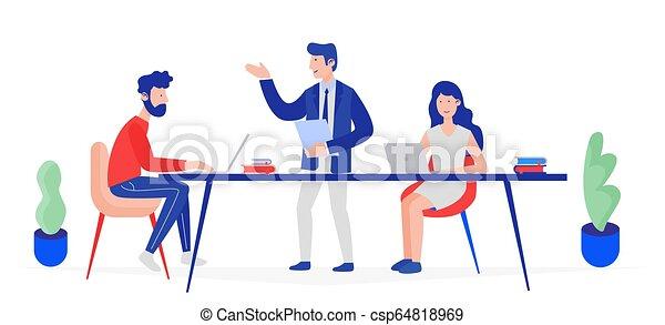 sprechende , firma, illustration., leute, denken, meeting., verkäufe, fähigkeiten, analytics, vektor, brainstorming, mannschaft, machen, steigend - csp64818969