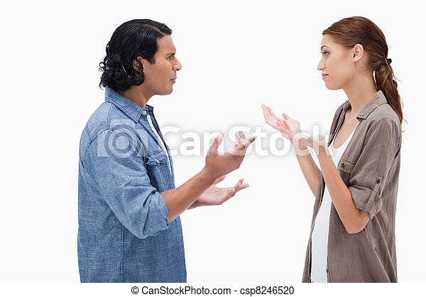 sprechende , paar, seitenansicht - csp8246520