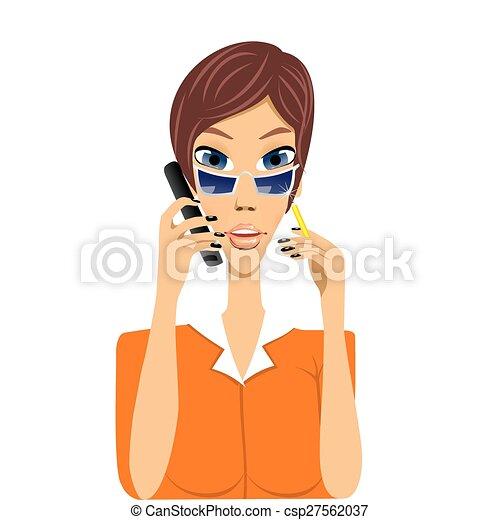 Sprechende Sekretärin Karikatur Telefon Bleistift Sie Telefon