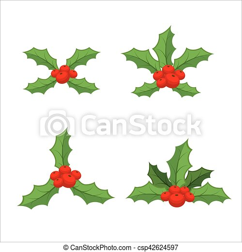 sprig of mistletoe set traditional christmas plant holiday red
