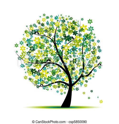 spring., árbol, aves, diseño, floral, su - csp5850090