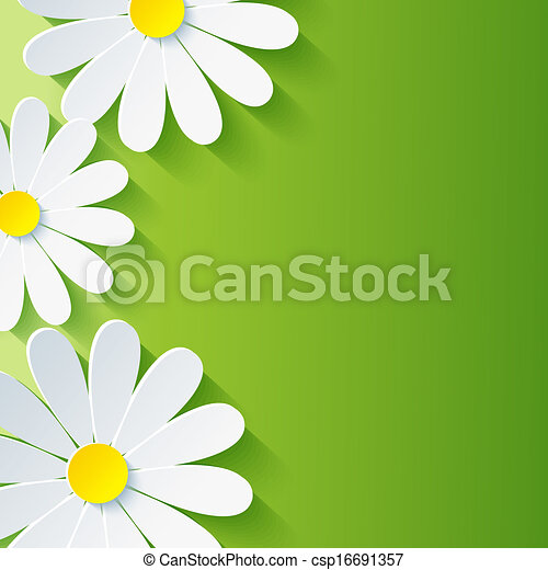 Spring abstract floral background, 3d flower chamomile - csp16691357