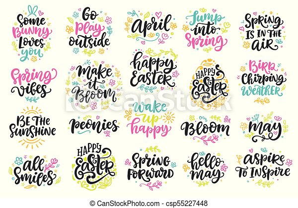 Spring And Easter Modern Calligraphy Quotes Set With Floral Doodles Simple Quotes Calligraphy