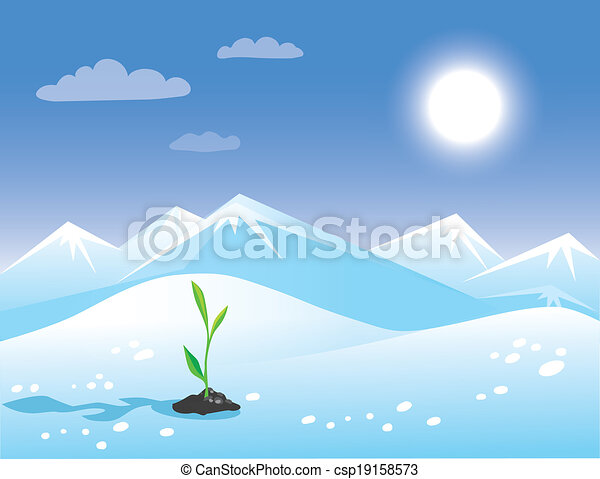 Spring arctic sunny landscape with green sprout. - csp19158573