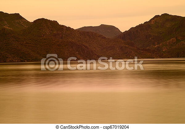 Spring at Saguaro lake in Arizona - csp67019204