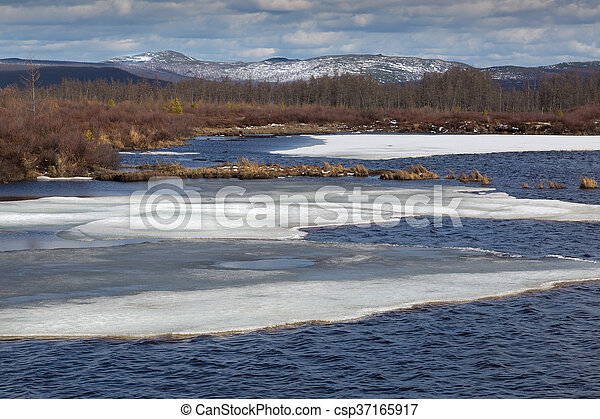 Spring at the lake - csp37165917