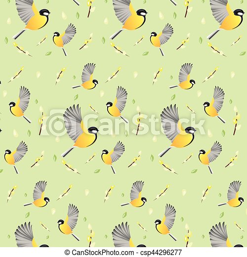 Spring Background Wallpaper With Birds Vector Background