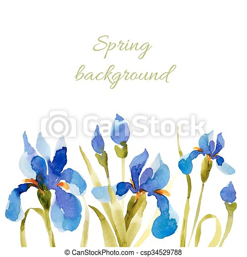 Spring background. Watercolor lowers. - csp34529788