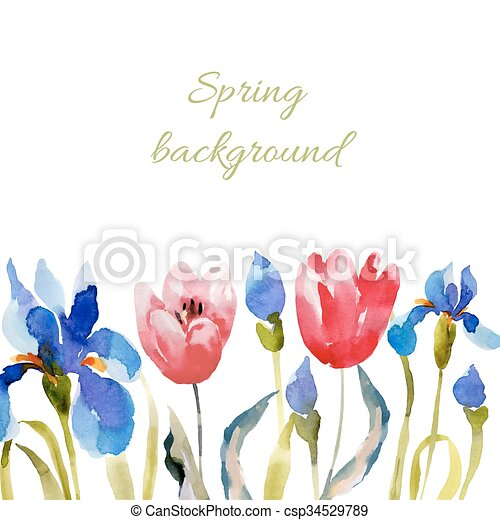 Spring background. Watercolor lowers. - csp34529789
