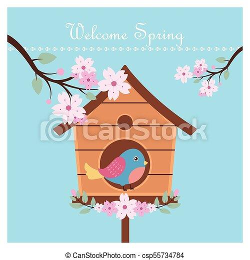 Spring background with bird - csp55734784