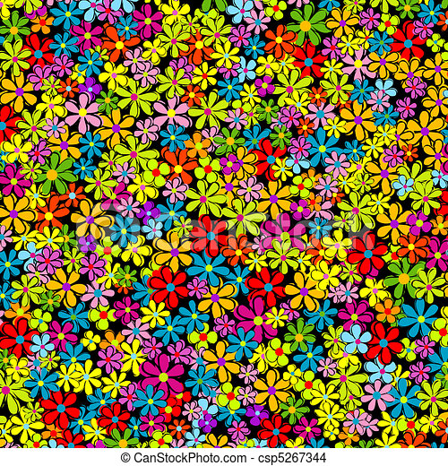 Spring background with multicolored flowers - csp5267344
