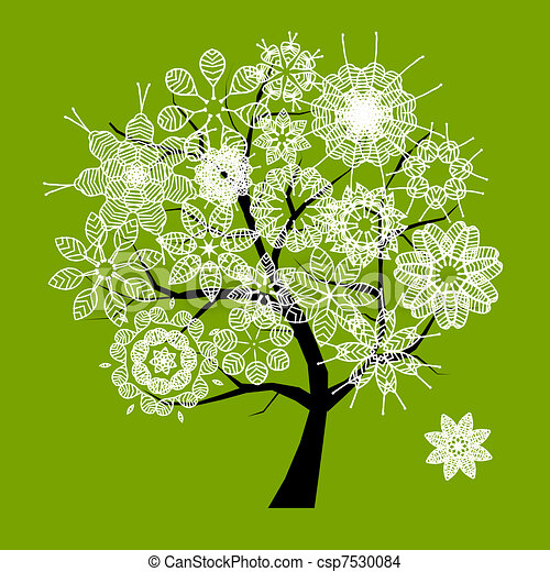 Spring beautiful white tree for your design  - csp7530084