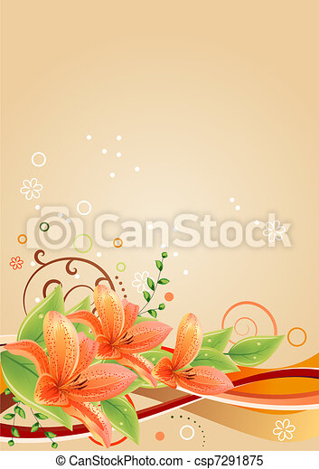 Spring beige frame with lilies and abstract elements - csp7291875