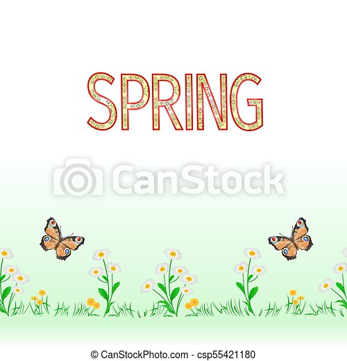 Spring border seamless background daisy with butterfly with butterfly vector - csp55421180