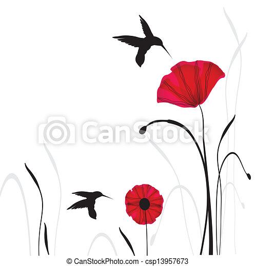 Spring card with beauty poppies. - csp13957673