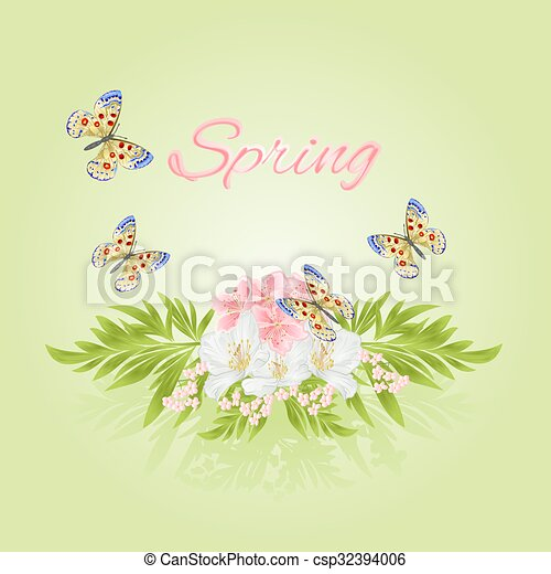 Spring cherry blossom and jasmine with butterflies vector - csp32394006
