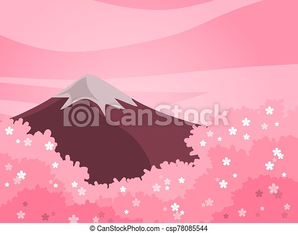 Spring cherry blossom and mountain background in pink tone color. - csp78085544