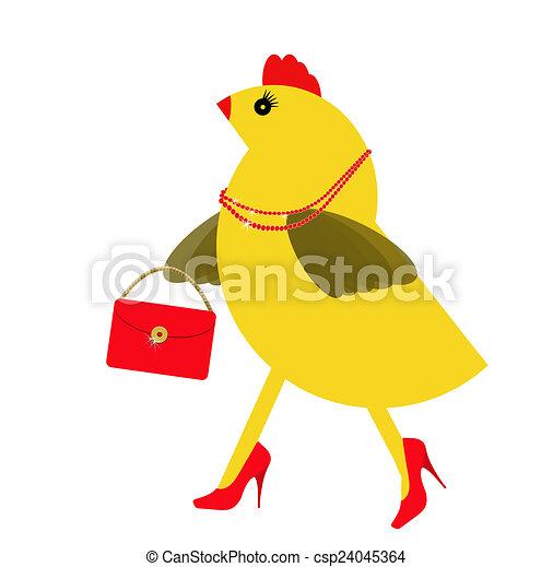 Spring chicken character with bling, handbag. Fun hen. - csp24045364
