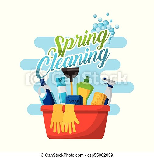 Spring cleaning poster with bucket bottle spray and gloves ...