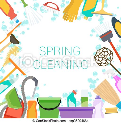tools clipart border. spring cleaning supplies frame on white tools of housecleaning background. vector clipart border