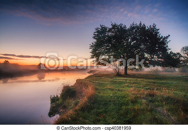 Spring dawn on the river - csp40381959