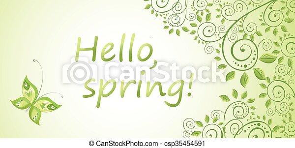Spring decorative floral banner - csp35454591