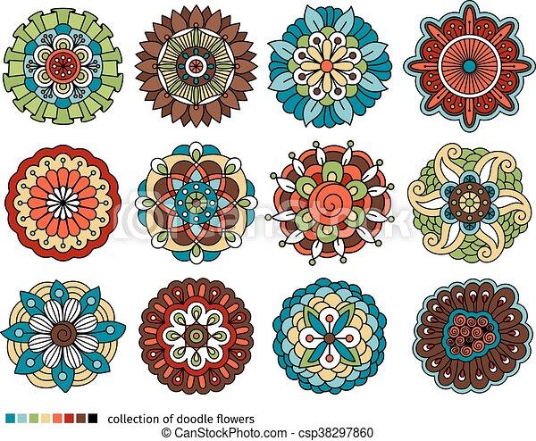 Spring doodle flower set - csp38297860