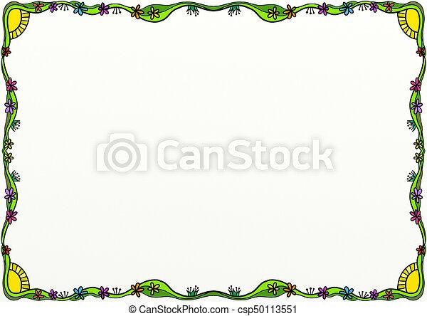 Spring Doodle Page Border Decoration - csp50113551