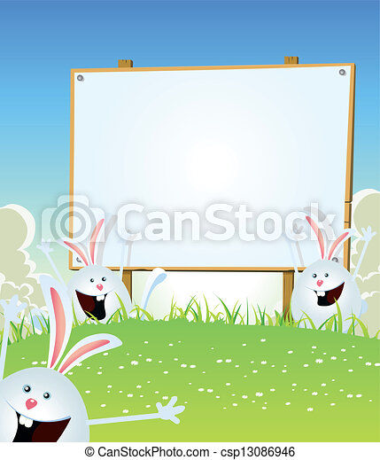 Spring Easter Bunnies Message On Wood Sign - csp13086946
