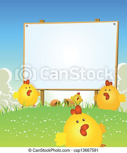 Spring Easter Chicken And Wood Sign - csp13667591