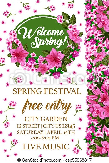 Spring festival poster with pink flower frame. Spring holiday poster ...