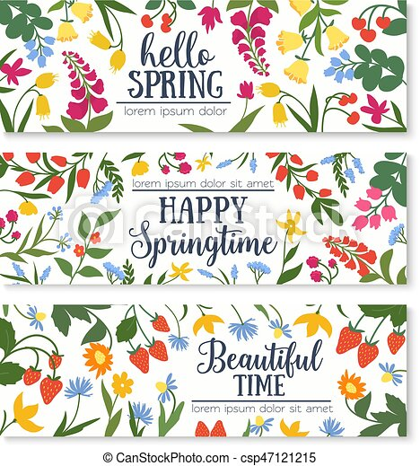 spring floral banner with flower and berry frame hello spring rh canstockphoto com Spring Clip Art Spring Flowers and Butterflies