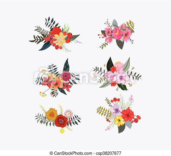 Spring floral clusters flower wreaths bouquets elements spring floral clusters flower csp38207677 mightylinksfo