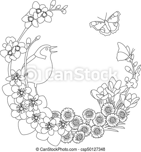 Spring Floral Elegant Wreath Coloring Page Spring Floral Outline Elegant Round Outline Wreath Coloring Page Decoration Canstock