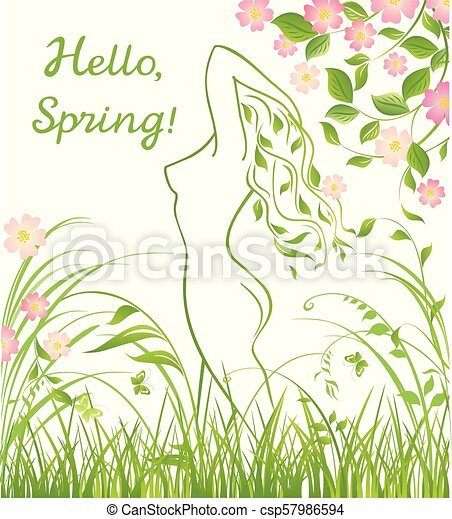 Spring floral green background with beautiful nymph silhouette and apple-tree blossom - csp57986594