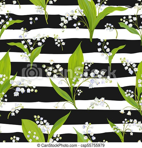 Spring Floral Seamless Pattern With Lily Valley Flowers Springtime