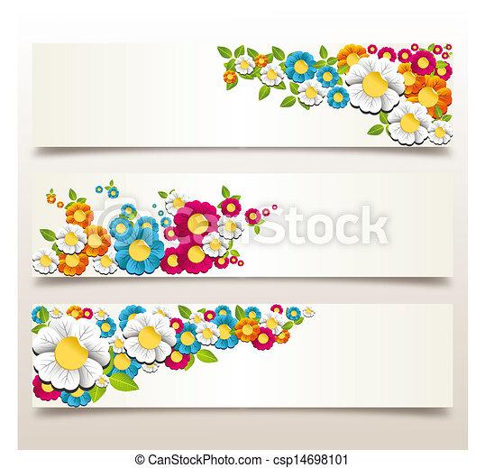 Spring flower banner colorful spring flowers banner vector spring flower banner csp14698101 mightylinksfo