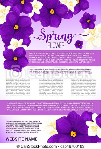 Spring Flower Bouquet Greeting Poster Template Springtime Blooming