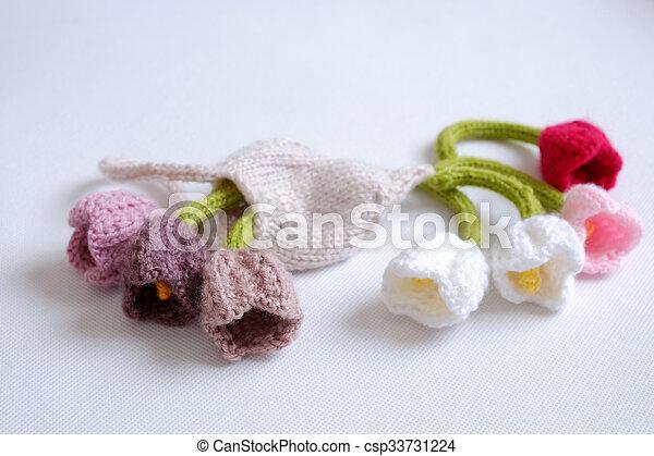 Spring Flower Handmade Tulip Diy Knit Knit Knitting Knitted
