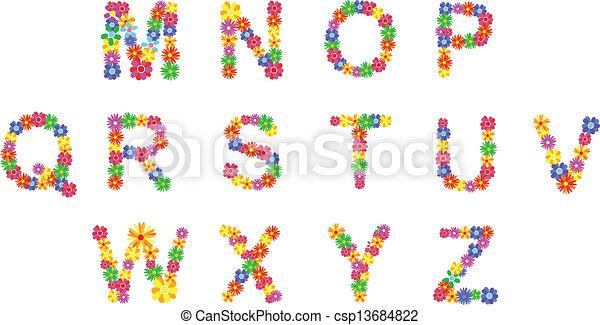 Spring flowers alphabet spring flower alphabet letters m z vector spring flowers alphabet csp13684822 mightylinksfo