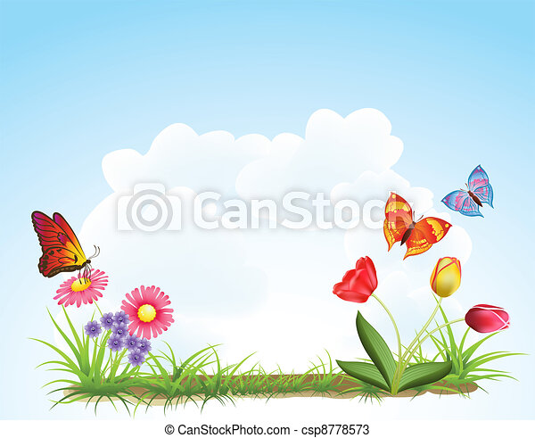 spring flowers background - csp8778573