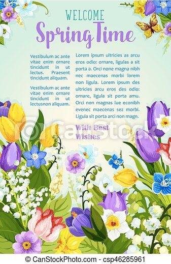 Spring Flowers Blooming Design Vector Poster Spring Time Vector