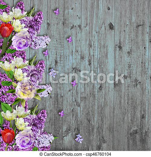 Spring Flowers Border On Vintage Wooden Background Floral Border