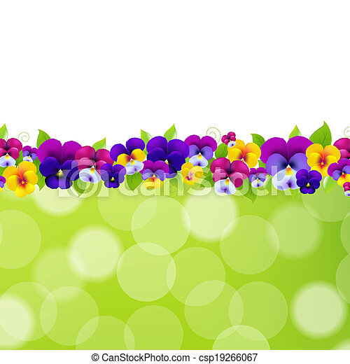 Spring flowers border with gradient mesh vector illustration spring flowers border csp19266067 mightylinksfo