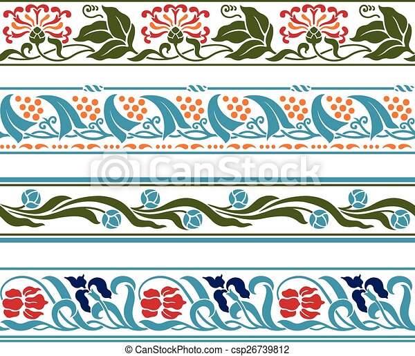 Spring flowers borders a set of seamless repeating spring vector spring flowers borders csp26739812 mightylinksfo