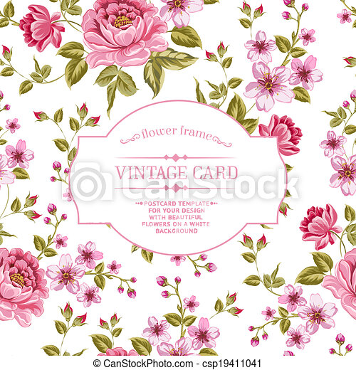 Spring flowers bouquet for vintage card. - csp19411041