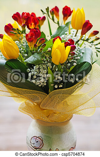 Spring Flowers Bouquet In Handmade Vase Colorful Spring Flowers