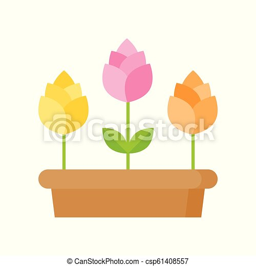 Spring flowers icon isolated on white background vector illustration - csp61408557