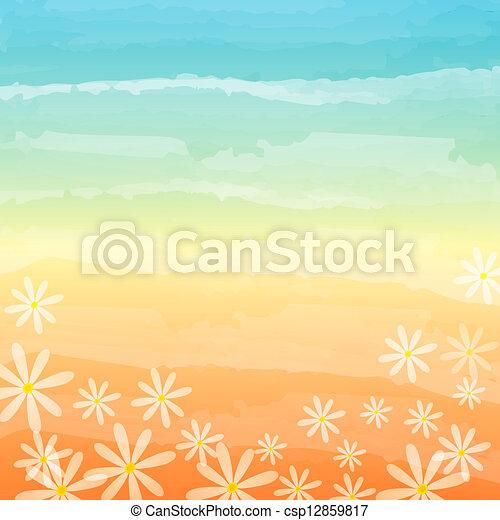 spring flowers in blue peach background - csp12859817